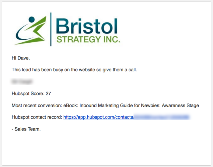 example lead score alert for sales