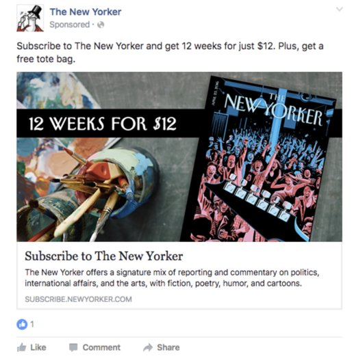 native facebook advertisement example